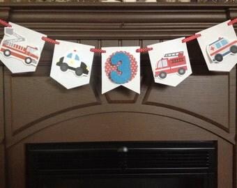 Emergency Vehicles Birthday Party Mini Banner
