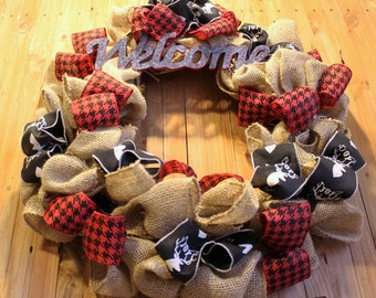 Winter Wreath - Welcome in Red, Black and Burlap