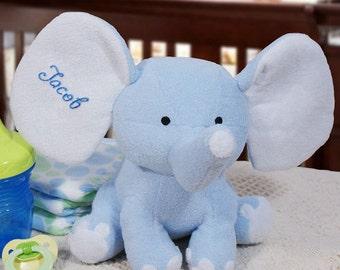 Personalized Blue Elephant Plush Embroidered Name Soft & Cuddly Plush Elephant