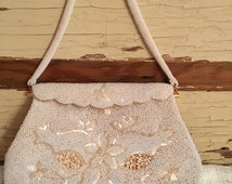 Vintage Delill Cream and Gold Beaded Handbag Scalloped Hinged Clasp