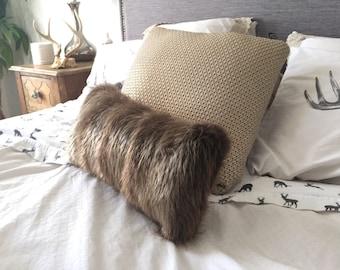 Real beaver fur (recycled )Cushion, Handmade .