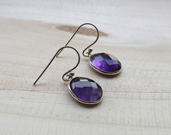 Amethyst Sterling Silver Dangle Earrings, Gemstone Jewelry, 925 Sterling Silver Earring, Purple Earrings