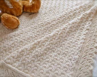 Delicate hand knitted, soft woollen baby shawl (Biscuit)