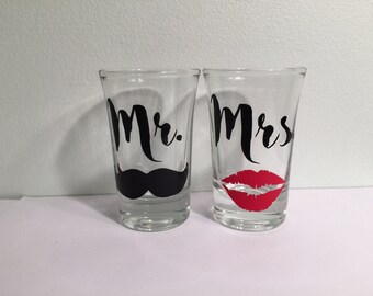 Mr & Mrs. Shot Glasses (Set of 2): Wedding Gift, Bachelorette Party, Bachelor Party