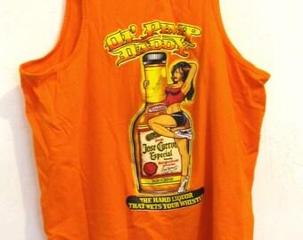 A Vintage Orange Jose Cuervo PIMP DADDY Tank Top From Mexico.L