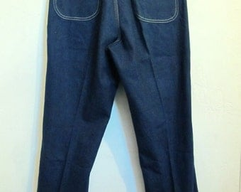Mens,RARE Vintage 70's Dark Blue Denim UTILITY Style Jeans By LEE.32x30