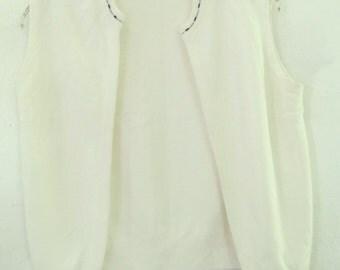 A Sweet Vintage 60's,SLEEVELESS Button less,Off White Orlon CARDIGAN By DEVON.S