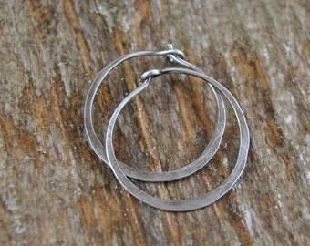Silver Hoops Earrings...Hammered Silver Earrings Sterling Silver Hoops
