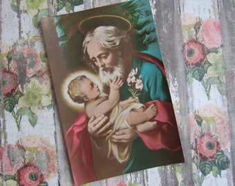 Antique Saint Joseph and the Child Jesus Catholic Art Print (never displayed, from the 1930's)