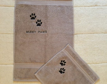 Personalised Embroidered  Muddy Paws Towel and Wipe Down Flannel