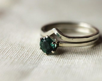 Sea Green Apatite Sterling Silver Solitaire Promise or Engagement Ring