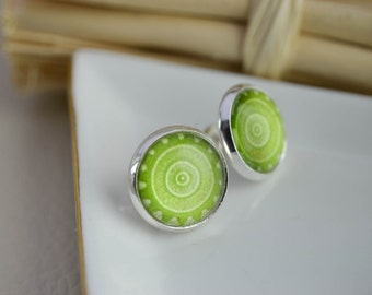 Earring studs - earrings cabochons - mandala - silver earrings - Green earrings - 12mm - small earrings stud