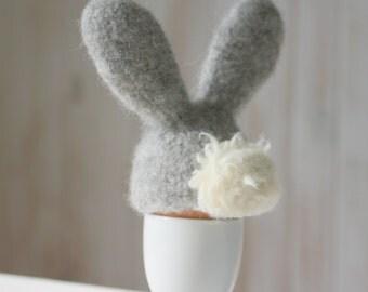 Grey bunny egg cozy, Easter table decor