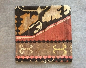 Kilim, Rug Pillow Case 16 x 16
