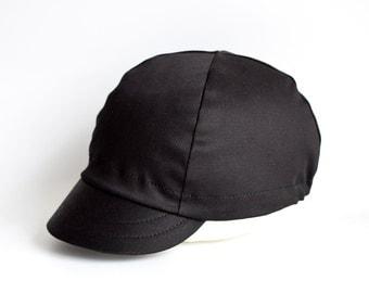 All Black Cycling Cap, Cycling hat, Handmade cap, Fixed gear cap, Mens hat, Bike cap, Cotton cap