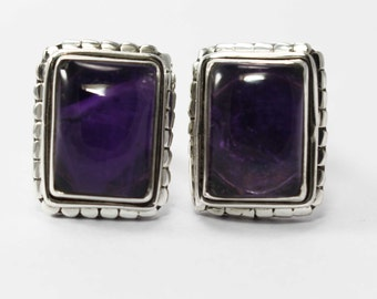 Amethyst Cufflinks 925 Sterling Silver Purple Handmade Jewellery by AmoreIndia C308