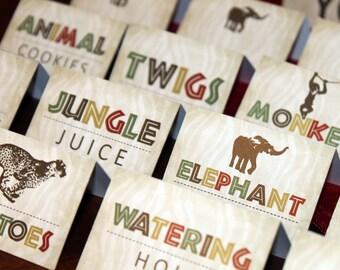 Safari Food Tags, Safari Table Tents, Safari Place Cards, Jungle Food Tags, Zoo Food Tags, Jungle Table Tents, Zoo Table tents
