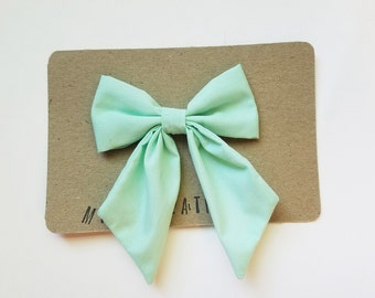 Solid Mint Blue Big Bow - The Mila
