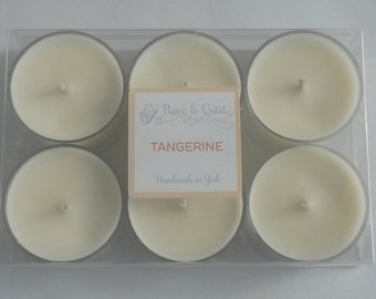 Tealights Soy Wax set of 6 x Tangerine Aroma in a Presentation Box. Gift for her, stocking filler, under 5 pounds