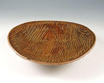 Ceramic Bowl, Handmade, Brown Wood Grain Tree Bark Texture Pottery Bowl