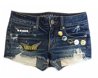 Womens jean shorts Daisy dukes Womens cutoff shorts Denim shorts Nirvana Juniors jean shorts Studded denim shorts Girls clothes Size 00