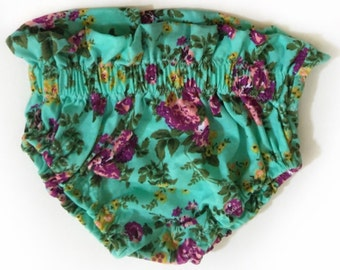 Mint floral ruffle bloomers