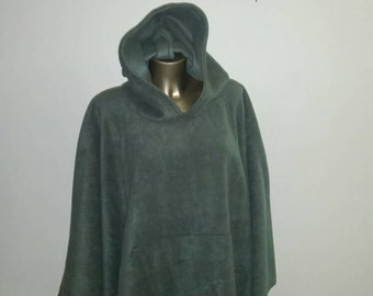 Mens or Womans Olive Green One Size Fits All Hooded Anti-Pill Fleece Poncho With Front Pocket