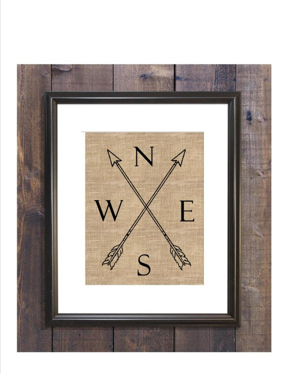 Rustic Compass Wall Decor Gift For Him By Burlapkeepsakes