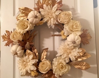 Farmhouse Fall Wreath, White and Gold Autumn Wreath, Farmhouse Autumn Wreath
