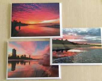 Set of 3 Blank Greeting Cards Sunset