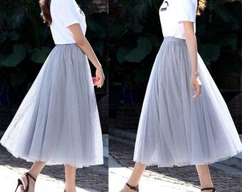 Grey Tulle Skirt - Dance tutu skirt - Tea Length - Adult Tutu - Party skirt - Midi Skirt with Lycra Waistband - Custom Size, Made to Order