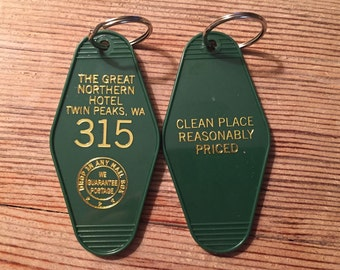 "On Sale! Gold printed TWIN PEAKS Inspired ""Great Nothern Hotel"" keychain, key fob"
