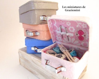 Miniatures sewing or knit suitcase- scale 1:12-Dollhouses miniatures