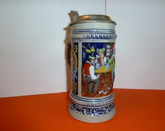 German Beer Stein with Pewter Lid, Fathers Day gift