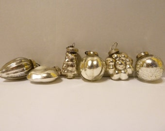 Christmas Ornaments, Set of 6, Old World Glass, Silver