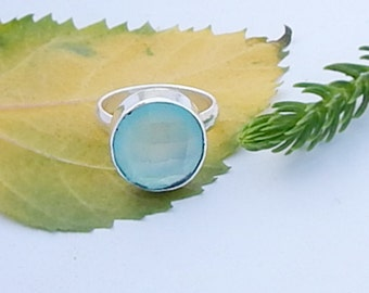Round Faceted Aqua Chalcedony Gemstone 925 silver Ring Size 6