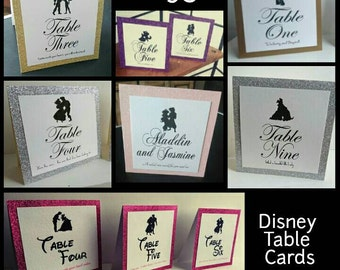 Disney Theme Tent Card Table Name/Number Wedding Table Card