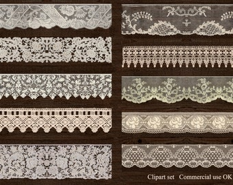 Ivory lace, digital download, instant download, lace clipart, scrapbooking lace, commercial use lace, scrap CU, vintage lace, lace png