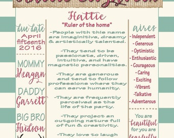 Personalized Baby Name Meaning Printable Poster Customizable With Quote Or  Verse Posters For Nursery, Fully