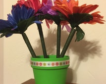 Hand Painted Daisy Flower Pen Pot / Wedding, Shower, Party Favor or Office Gift