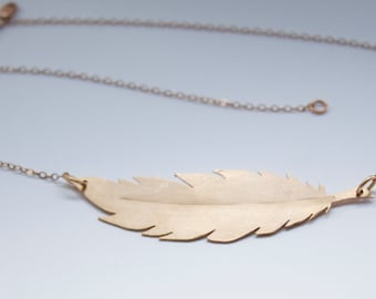 Feather Necklace in Bronze, Delicate Bronze Feather