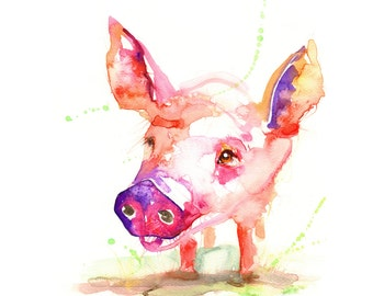 original watercolour painting pig large signed print new modern art wall decor abstarct gift