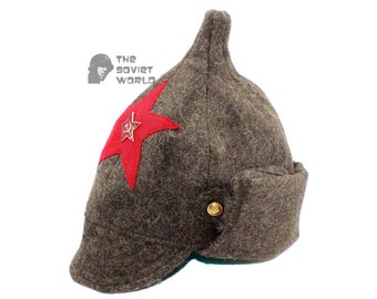 Soviet Russian Red Army woolen earflaps grey winter WW2 hat BUDENOVKA