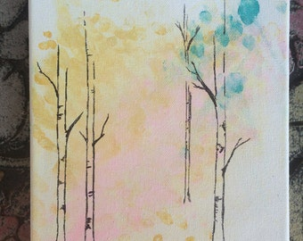 Fingerprints and Birch - Acrylic Painting