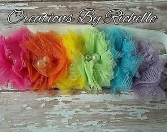 Rainbow Tulle Flower Headband- Rhinestones- Pearls