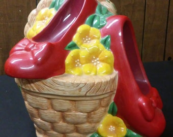 Wizard of Oz Ruby Slippers in Basket Cookie Jar