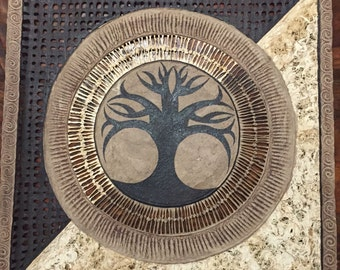 """Amate Bark Paper Wall Art with Tree of Life Design (24"""" x 24"""")"""
