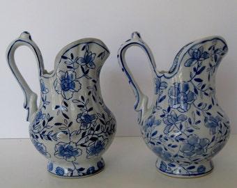 Blue on White Porcelain Creamers, Pair