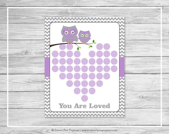 Owl Baby Shower Guest Book - Printable Baby Shower Guest Book - Purple Owl Baby Shower - Baby Shower Guest Book - Owl Guest Book - SP136