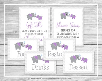 Elephant Baby Shower Table Signs - Printable Baby Shower Table Signs - Purple and Gray Elephant Baby Shower - Table Signs - EDITABLE - SP116